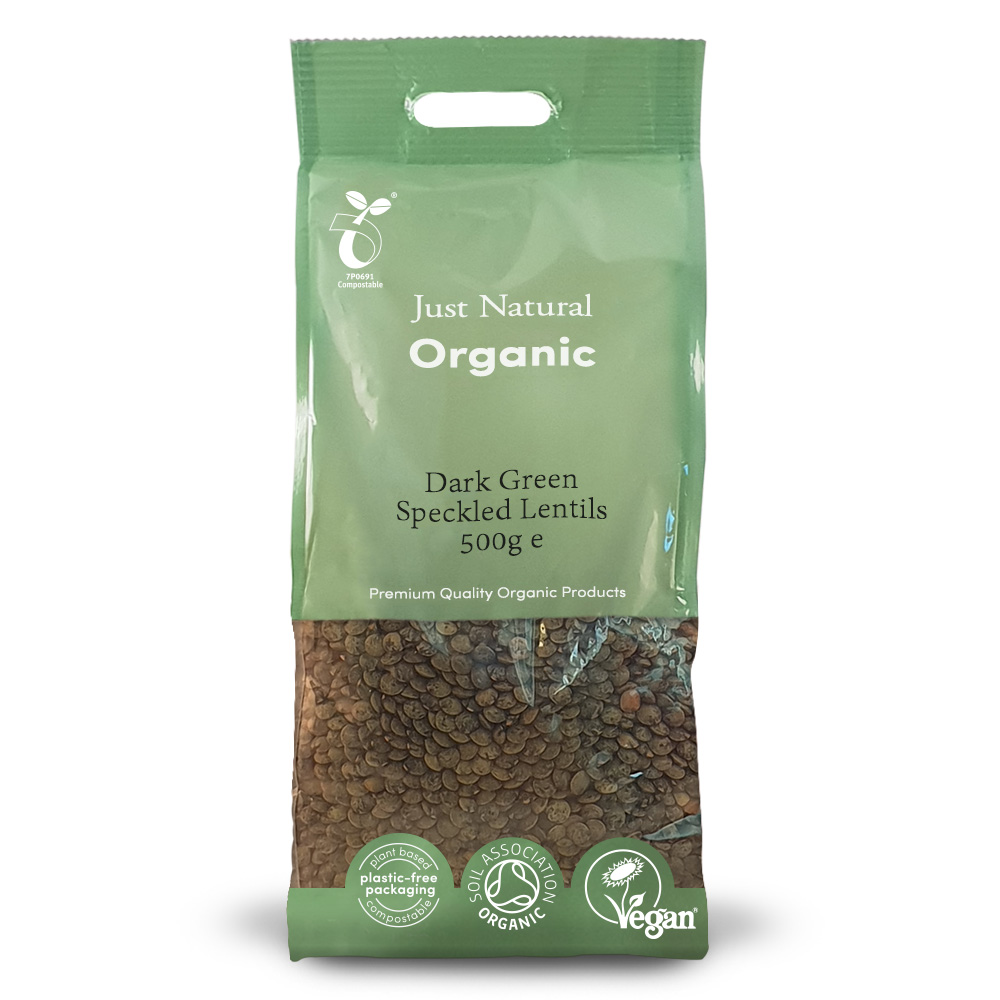 Organic Dark Green Speckled Lentils 500g