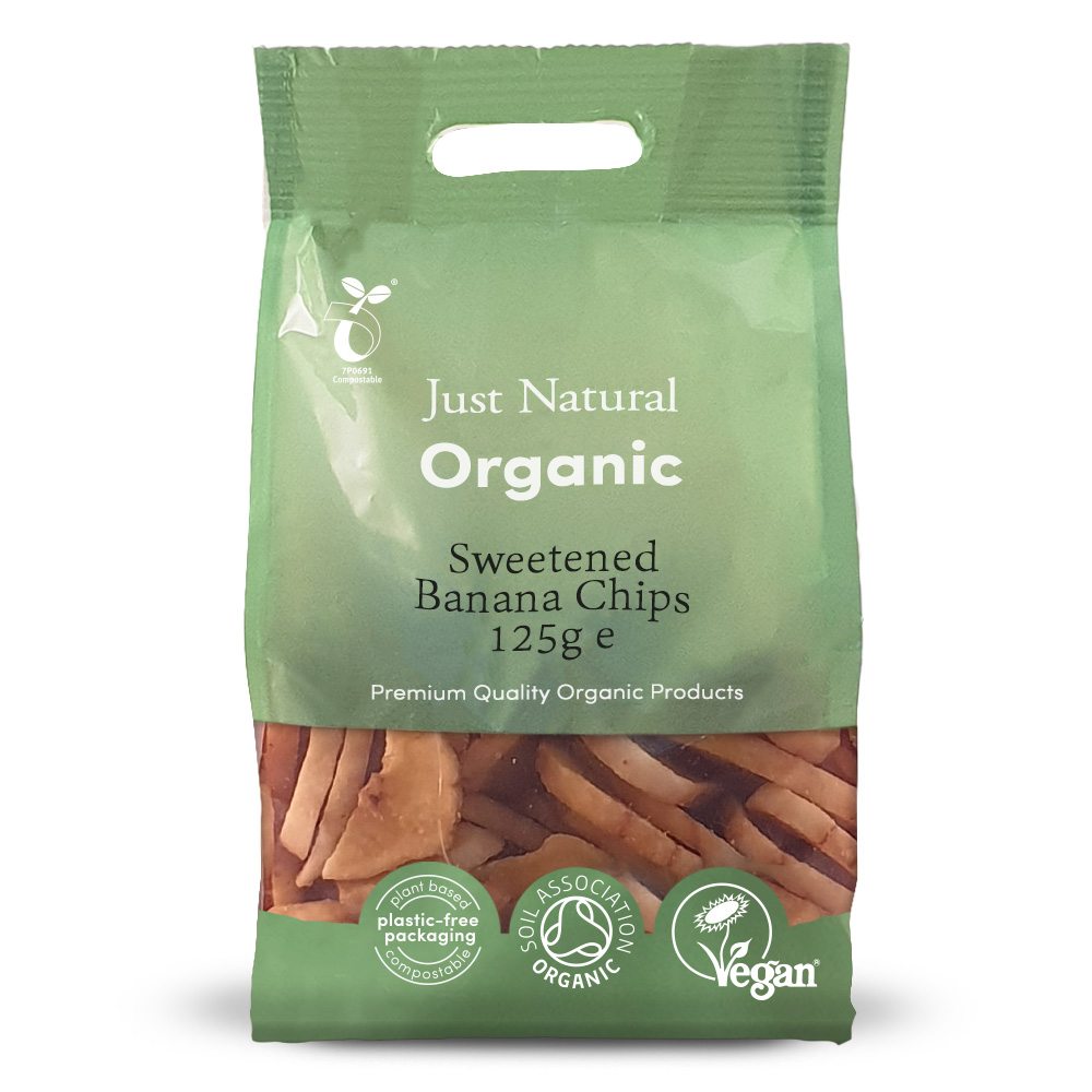 Organic Sweetened Banana Chips 125g
